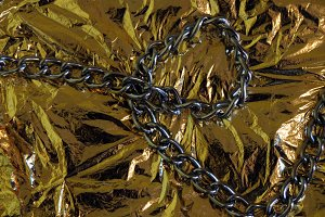 Gold paper and silver chain