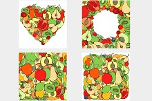 Set of different fruits. Vector