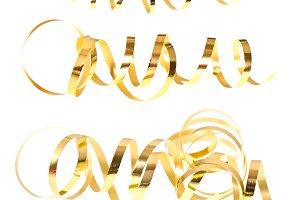 Golden serpentine streamers