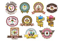 Colorful ice cream emblems or badges