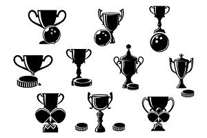 Black and white sports trophies
