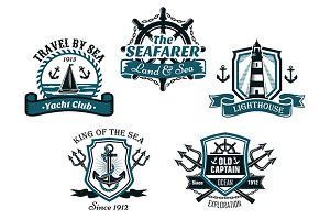 Nautical various heraldic designs