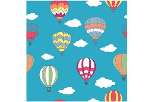Hot air balloons seamless pattern
