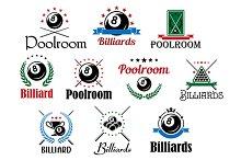 Billiard game emblems and symbols se
