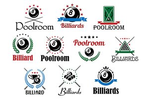 Billiard game emblems and symbols se