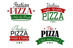 Various italian pizza labels set