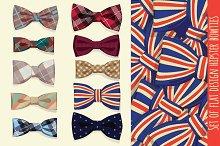 Set of flat design hipster bowties