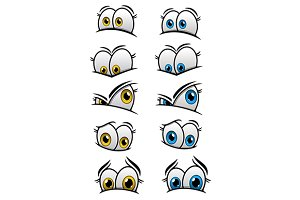Cartooned eyes with different emotio