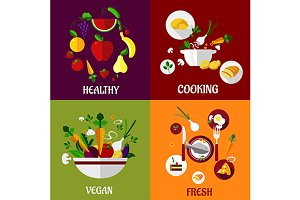 Colored fresh healty food flat desig