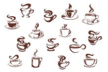 Assorted brown cups of hot coffee