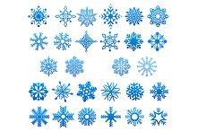 Cool blue snowflakes set