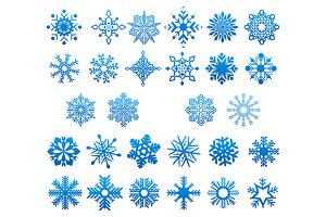Cool blue snowflakes set