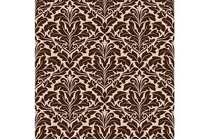 Brown and beige floral damask patter