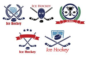 Ice Hockey heraldic emblems and symb