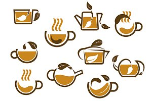Herbal tea cups and pots icons