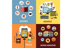 Educational concept designs in flat
