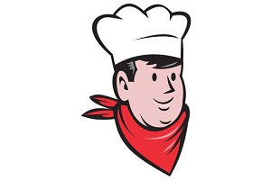 Chef Cook Baker Head Scarf Cartoon