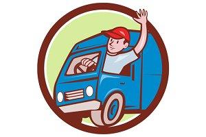 Delivery Man Waving Driving Van Circ
