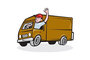 Delivery Man Waving Driving Van Cart