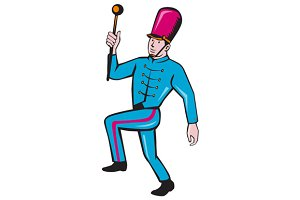 Marching Band Leader Baton Cartoon