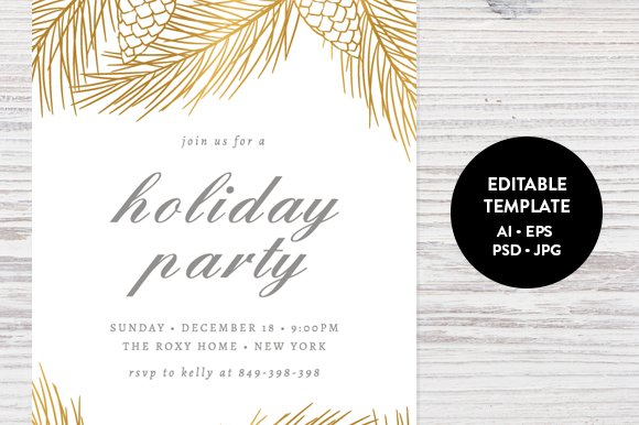 holiday party invitation template invitation templates creative market. Black Bedroom Furniture Sets. Home Design Ideas