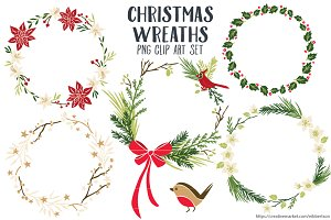 Christmas Wreaths Clip Art PNG