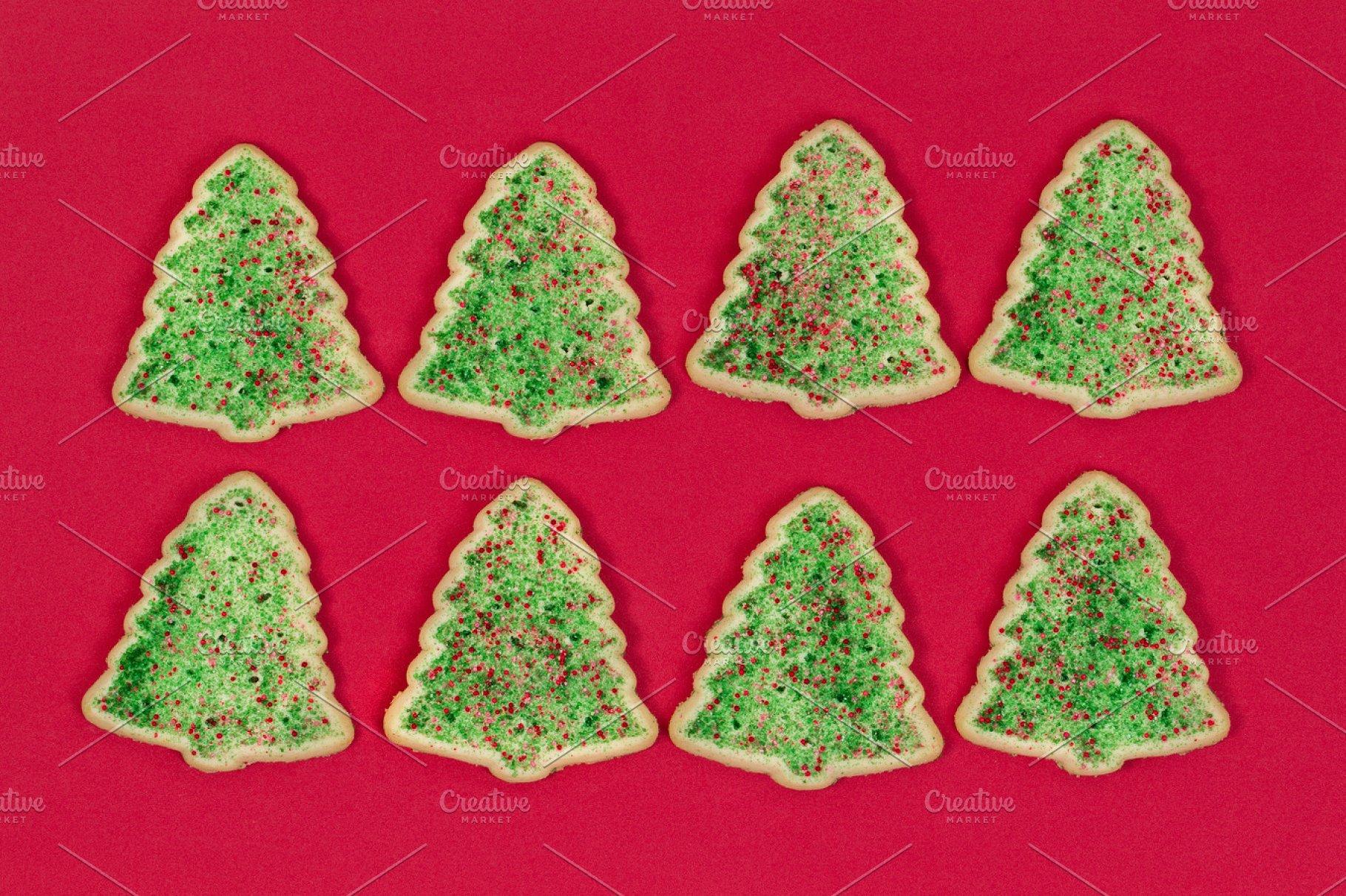 Christmas Tree Cookies On Red