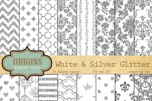 White & Silver Glitter Digital Paper