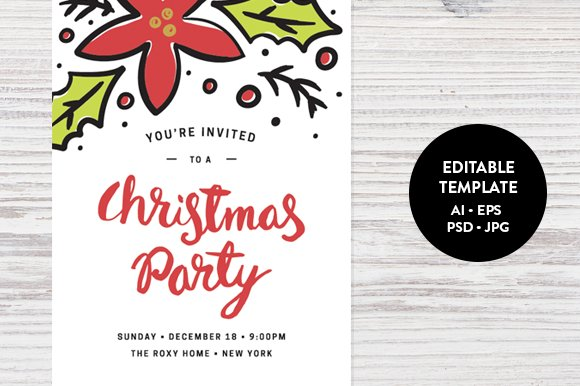Christmas party invitation template invitation templates christmas party invitation template invitation templates creative market stopboris Gallery