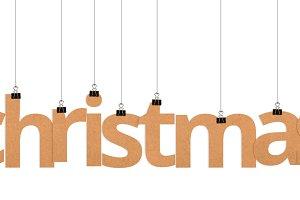 Christmas word hanging on strings