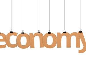 economy word hanging on strings