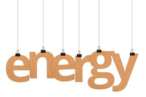 energy word hanging on strings
