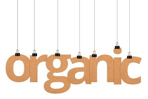 organic word hanging on strings