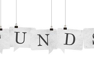 Funds speech bubble word