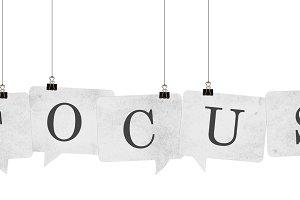 Focus speech bubble word