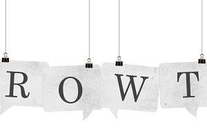 Growth speech bubble word