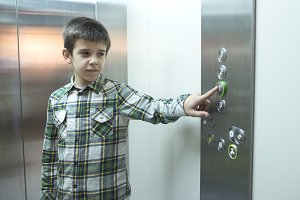 Child pushed a button in an elevator