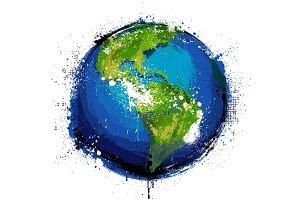 Earth Planet Grunge Vector Art