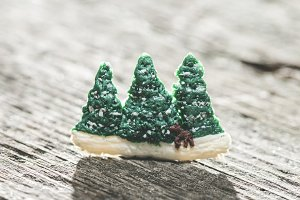 Miniature figures of pine trees