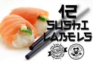 12 Sushi labels & logos. Asian food