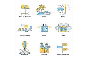 Traveling Vacation Journey Icons