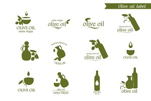 Olive oil icons, label, logo, badges