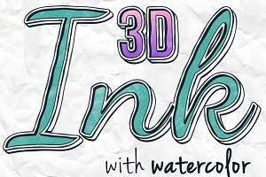 3D Ink Watercolor Actions - 300DPI
