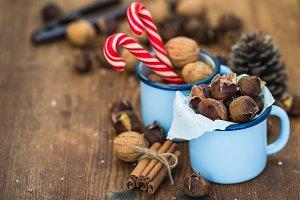 Roasted chestnuts in blue enamel mug