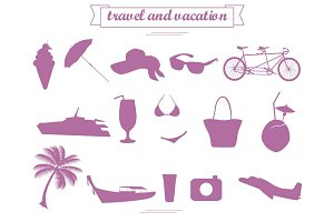 Travel and Vacation flat icons