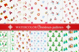 Watercolor Christmas Patterns Set 1