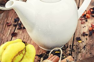 White teapot and fruit