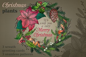 Christmas greeting cards and pattern