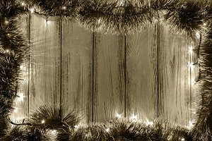 Garland lights vintage background
