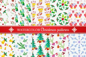 Watercolor Christmas Patterns Set 2